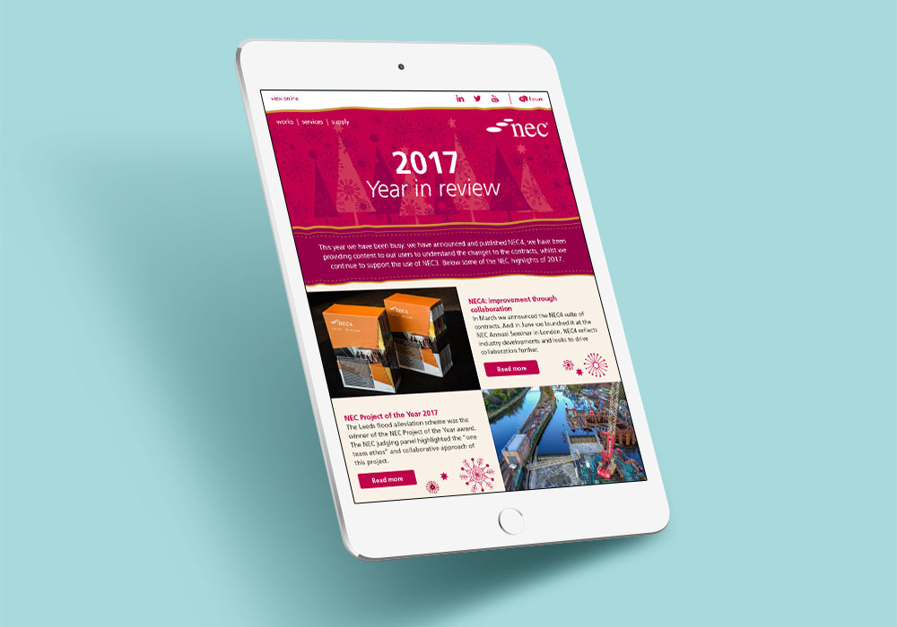 NEC a year in review email campaign